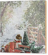 Truck Carrying Christmas Trees Wood Print