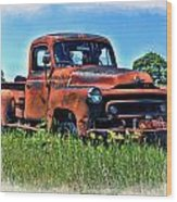 Truck In The Grass Wood Print
