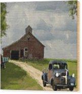 Trucks And Barn Wood Print by Jack Zulli