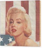 True Blue Marilyn In Flag Wood Print
