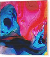True Colors - Vibrant Pink And Blue Painting Art Wood Print