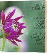 True Face - Poem - Flower Wood Print