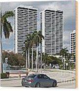 Trump Plaza In Downtown West Palm Beach Skyline Wood Print