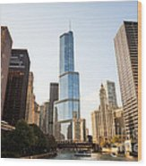 Trump Tower And Downtown Chicago Buildings Wood Print