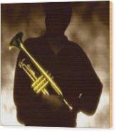 Man Holding Trumpet 1 Wood Print