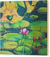 Trumpets And Lilies Wood Print