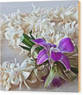 Tuberose Lei With Purple Orchid And Ribbon Wood Print