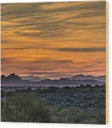 Tucson At Sunset Wood Print