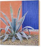 Tucson Barrio Blue Door Painterly Effect Wood Print