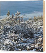 Tucson Covered In Snow Wood Print