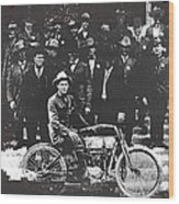 Tucson Police Department  On Steps Of City Hall With 1st Police Motorcycle C. 1917 Tucson Arizona Wood Print