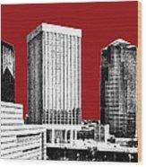 Tucson Skyline 1 - Dark Red Wood Print