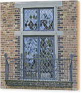 Tudor Style Windows With Balcony Wood Print