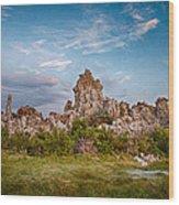 Tufa And Clouds Wood Print