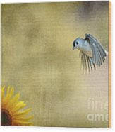Tufted Titmouse Flying Over Flower Wood Print