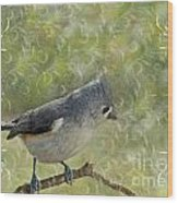 Tufted Titmouse With Decorations Wood Print