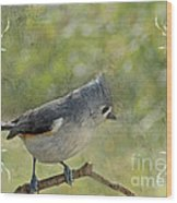 Tufted Titmouse With Decorations II Wood Print