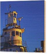 Tug Boat At Dawn, Cape Ann, Gloucester Wood Print