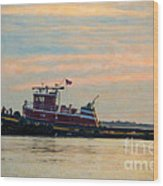 Tug Boat Hard At Work Wood Print