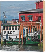 Tug Boat Pilot Docked On Waterfront Art Prints Wood Print