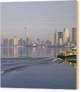 Tugboat And City Skyline, Toronto Wood Print