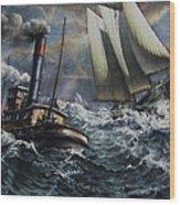 Tugboat And Lumber Schooner In Storm Wood Print