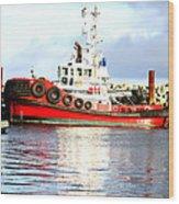 Tugboat Captain Wood Print