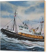 Tugboat Island Commander Wood Print