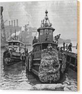 Tugboat Winter  1946 Wood Print