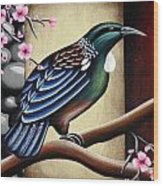 Tui And Cherry Blossom Wood Print