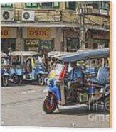 Tuk Tuk Taxis In Bangkok Thailand Wood Print