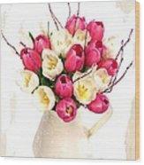 Tulip Blooms Wood Print by Debra  Miller