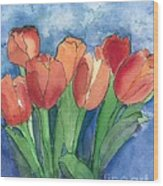 Tulips After The Rain Wood Print