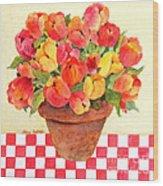 Tulips And Checks Wood Print
