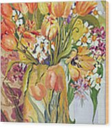 Tulips And Narcissi In An Art Nouveau Vase Wood Print by Joan Thewsey