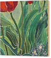 Tulips And Pushkinia Detail Wood Print by Anna Lisa Yoder