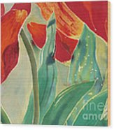 Tulips And Pushkinia Upper Detail Wood Print by Anna Lisa Yoder