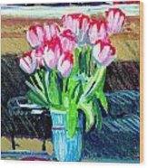 Tulips And Valentines Wood Print