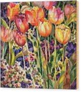 Tulips Wood Print by Ann  Nicholson