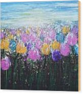 Tulips At Sunrise Wood Print