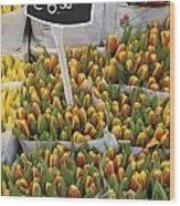 Tulips For Sale In Market, Close Up Wood Print