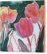 Tulips For The Love Of Patches Wood Print