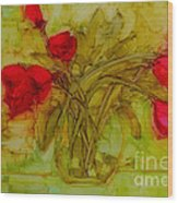 Tulips In A Glass Vase Wood Print