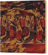 Tulips In Acryl Collage Wood Print