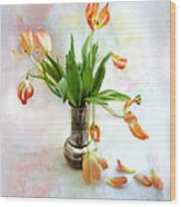 Tulips In An Old Silver Pitcher Wood Print