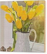 Tulips In Antique Jug Wood Print