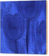 Tulips In Cobalt Blue Wood Print