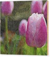 Tulips In Digital Watercolor Wood Print