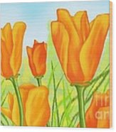 Tulips In Grass Wood Print