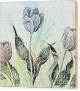 Tulips In Ink Wood Print